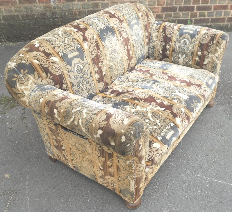 1930 s upholstered two seater settee couch sofa